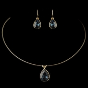 Gold Navy Teardrop Swarovski Element Crystal Necklace 9604 & Earrings 9602 Jewelry Set