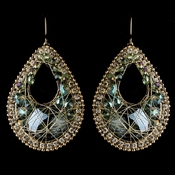 Gold Olive Green Beaded & Rhinestone Hand Made Fashion Chandelier Earrings 82038