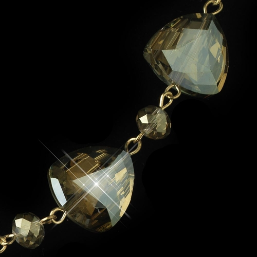 Gold Olive Green Rondelle Crystal Fashion Jewelry Set 82025