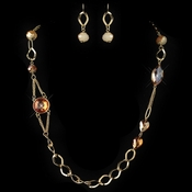 Gold Orange Long Fashion Crystal Beaded Jewelry Set 82030