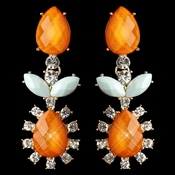 Gold Orange And Light Mint/Blue Rhinestone Dangle Earrings 9624