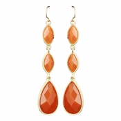 Gold Orange Dangle Earrings 8840
