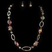 Gold Orange Peach AB Crystal Fashion Jewelry Set 82037
