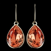 Gold Padparadscha Swarovski Crystal Element Large Teardrop Hook Earrings 9604