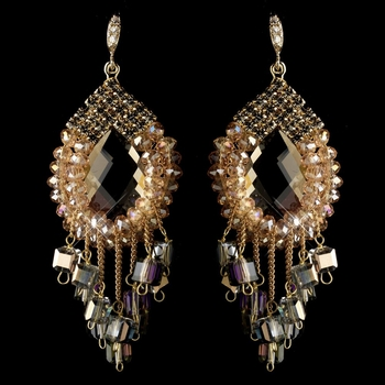 Gold Peach Beaded & Rhinestone Hand Made Chandelier Earrings 82039