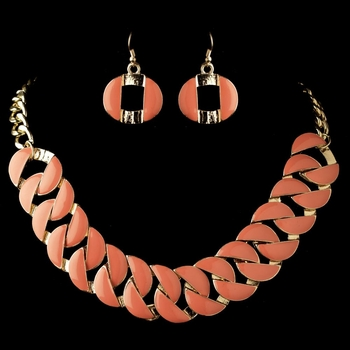 Gold Peach Coral Fashion Enameled Jewelry Set 82033