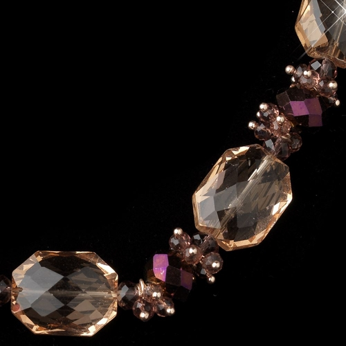 Gold Peach Faceted Chunky Glass Cut Fashion Necklace 9517