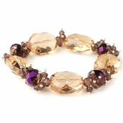 Gold Peach Faceted Chunky Glass Cut Fashion Stretch Bracelet 9518