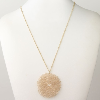 Gold Peach Round Faceted Glass Crystal Necklace 9510