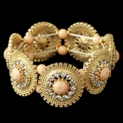 Gold Peach Stone & Clear Rhinestone Stretch Bracelet 82043