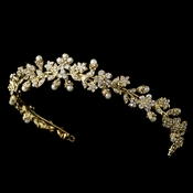 * Gold Pearl & Crystal Floral Band Tiara HP 3154