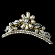 * Gold Pearl Floral Child's Tiara HPC-854