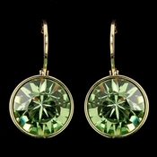 Gold Peridot Swarovski Crystal Element Round Leverback Earrings 9600