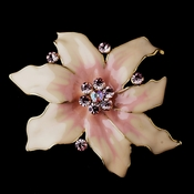 * Gold Pink Flower Brooch 163