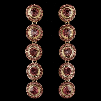 Gold Pink Rhinestone Pave Circle Dangle  Earrings 82022