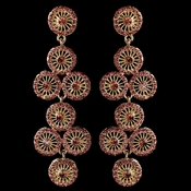 Gold Pink Rhinestone Retro Circle Wheel Dangle Earrings 82017