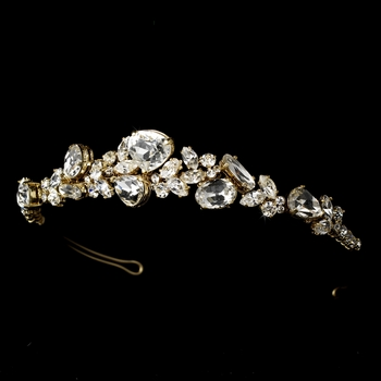 Gold  Clear Rhinestone Bridal Tiara HP 8314