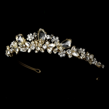 Gold Plated Swarovski Bridal Tiara HP 8237