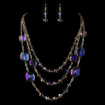 Gold Purple Rondelle Crystal Beaded  Fashion Jewelry Set 82048