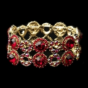 Gold Red & AB Crystal Bridal Stretch Bracelet 8658