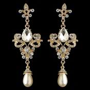 Gold Rhinestone & Diamond White Pearl Fleur de lis Dangle Earrings 3760