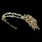 Gold Rhinestone, Swarovski Crystal & Glass Bead Floral Leaf Side Headband