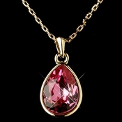 Gold Rose Swarovski Crystal Element Teardrop Pendant Necklace 9602