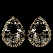 Gold Smoke & Black Beaded & Rhinestone Hand Made Fashion Chandelier Earrings 82038