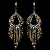 Gold Smoke & Clear Rhinestone Hand Made Chandelier Earrings 82041