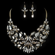 Gold Smoke Pear Cut Rhinestone Jewelry Set 82050