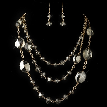 Gold Smoke Rondelle Crystal Beaded Fashion  Jewelry Set 82048