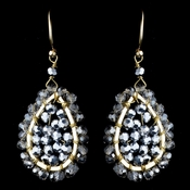 Gold Smoke Rondelle Swarovski Crystal Bead Drop Earrings