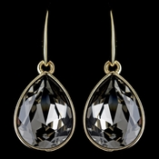 Gold Smoke Swarovski Crystal Element Large Teardrop Hook Earrings 9604