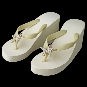 Gold Starfish Rhinestone High Wedge Flip Flops