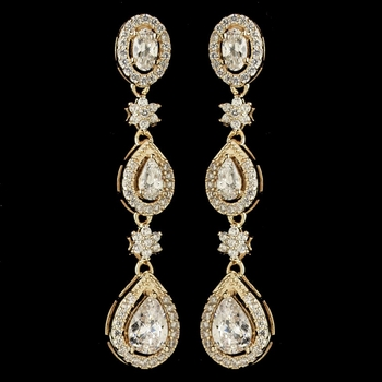 Gold Teardrop & Oval Pave Encrusted CZ Crystal Flower Dangle Earring 7763