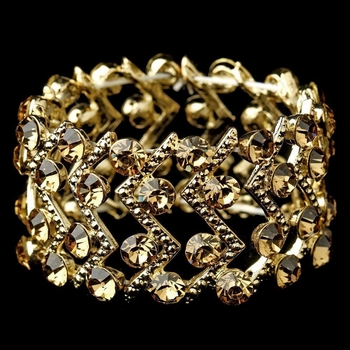 Gold Topaz Crystal Stretch Cuff Bridal Bracelet 8691