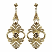 Gold Topaz Rhinestone Chandelier Earrings 954