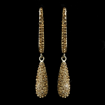 Gold Topaz Rhinestone Drop Earrings 1026