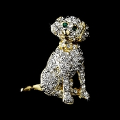 * Gold Trimmed Silver Clear Rhinestone Dog Pin w/ Green Rhinestone Eyes Brooch 98