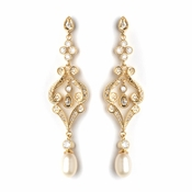 Gold Vintage CZ & Freshwater Pearl Bridal Wedding Earrings 2027