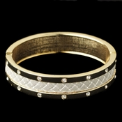 Gold White Bangle w/ Rhinestone & White Snakeskin Like Pattern Fashion Bracelet 82061
