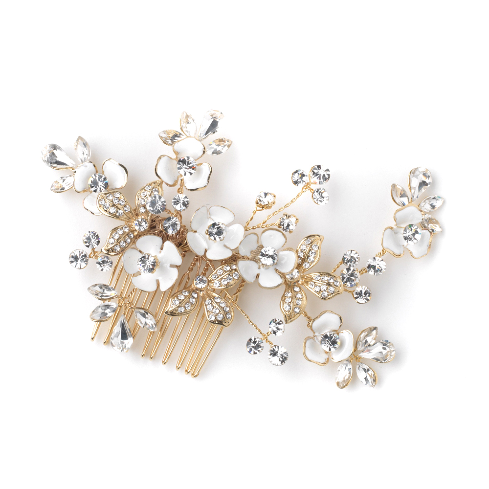 Floral Wedding Hair Comb By Britten: Gold White Enameled Flower Bridal Wedding Hair Comb W