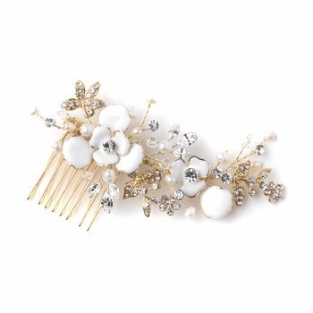Gold White Enameled Flower Bridal Wedding Hair Comb w/ Rhinestones & Freshwater Pearls 3812