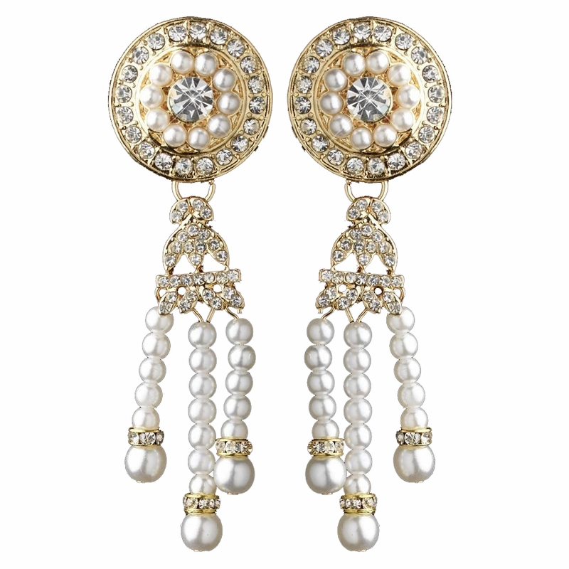 gold white pearl amp rhinestone dangle great gatsby earrings