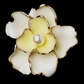 Gold Yellow Flower with White Pearl Brooch 146