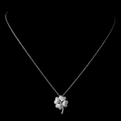 Gorgeous Silver Clear Pave CZ Four Leaf Clover Charm Necklace 8111
