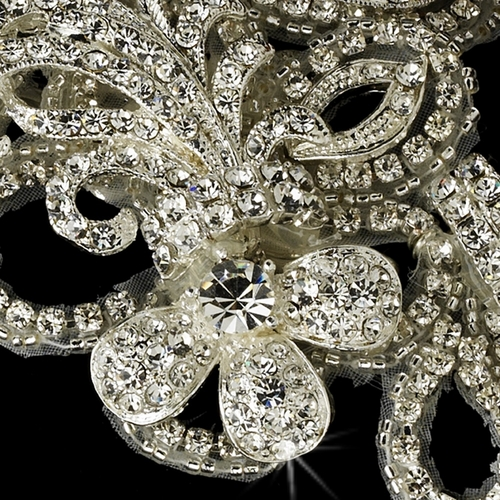 Gorgeous Silver Plated Rhinestone Ornament Bridal Brooch / Hair Clip - Brooch 43