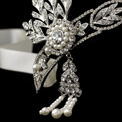 Great Gatsby Inspired Light Rhodium Headpiece HP 9996 with Ivory Pearls & Diamond White Ribbon