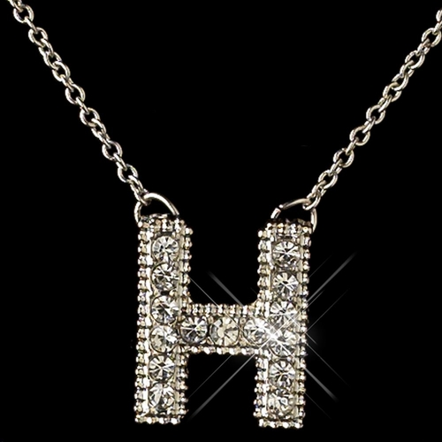 """H"" Clear Rhinestone Letter Initial Pendant Necklace 1"