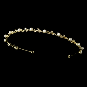Headpiece 1002 Gold Ivory Crystal Floral Headband Tiara